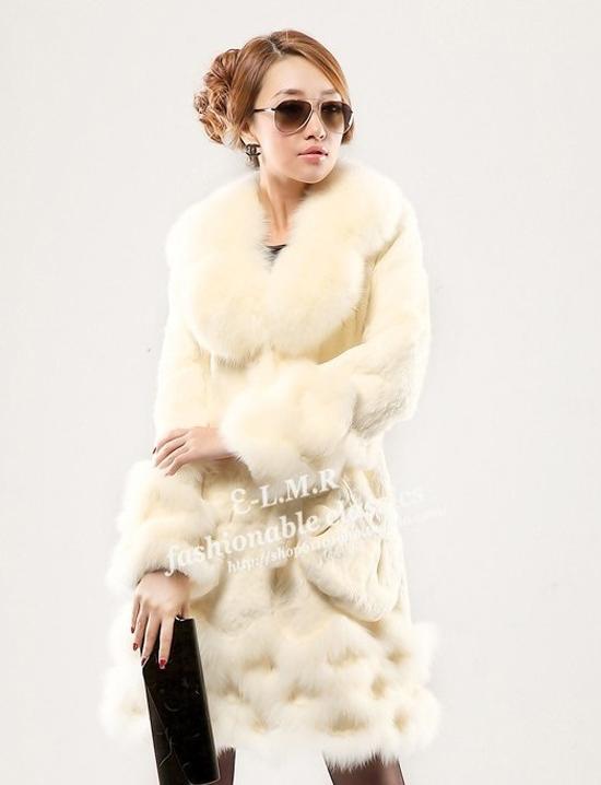 100 echte lange kaninchen pelz mantel jacke mit fuchs kragen damen luxus winter ebay. Black Bedroom Furniture Sets. Home Design Ideas