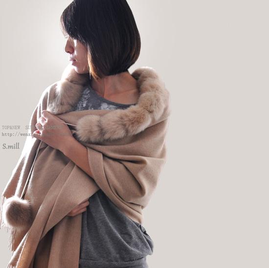 Real Genuine Wool Cashmere Fox Fur Trim Cape Stole Shawl