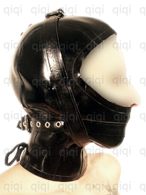 Looked cat dildo hood rubber suit hanging