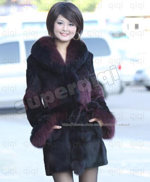 100-Real-Genuine-Rex-Rabbit-Fur-long-Coat-Jacket-Fox-Collar-outwear-clothing