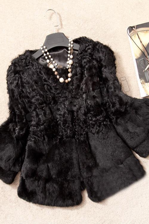 100 real genuine rabbit fur jacket wearcoat coat