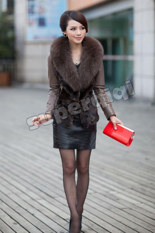 New 100% Real Genuine Mink Fur Fox Collar Lamb Leather Coat Jacket Womens Winter