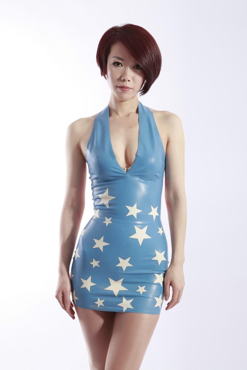 Details about 100% Latex/rubber 0.45mm Flag Halter Dress skirt suit