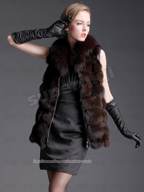 New 100% Real Genuine Fox Fur Long Vest Fox Collar Gilet Waistcoat in Winter New