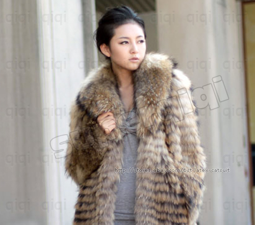 100-Real-Genuine-Raccoon-Fur-Collar-Coat-Jacket-Outwear-Clothing-Full-length