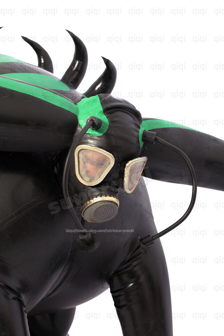 Inflatable catsuit rubber latex hood
