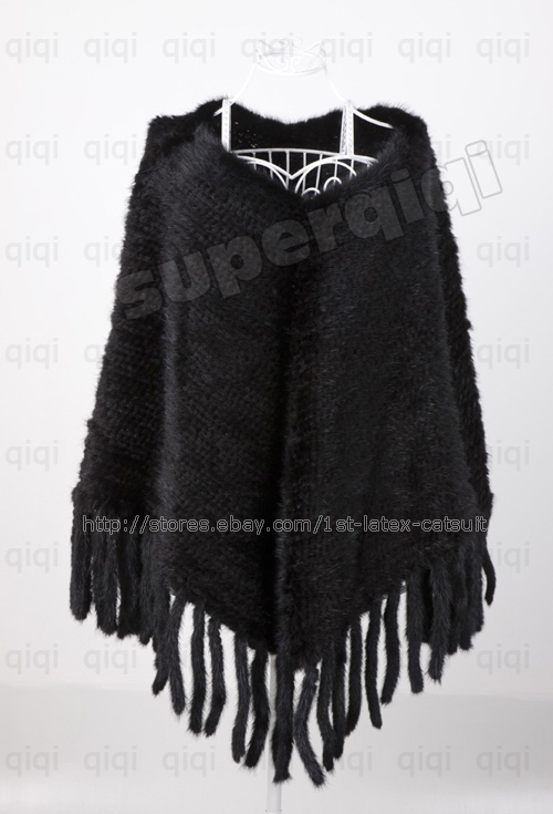 100-Real-Genuine-Knit-Mink-Fur-Stole-Cape-Shawl-Scarf-Coat-Womens-Brown-Colors