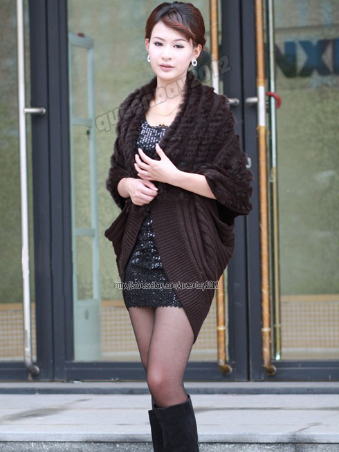 100-Real-Knitted-Rabbit-Fur-Stole-Batwing-Coat-Shawl-Cape-Scarf-Fashion-Spring