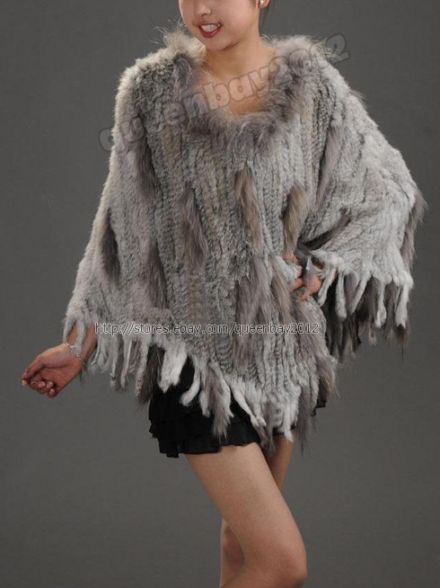 100% Real Knitted Rabbit Fur Poncho Cape Raccoon Trim Collar Stole Coat Tassel