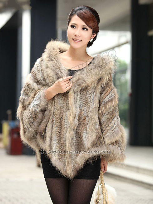 100% Real Knitted Rabbit Fur Cape Poncho Stole Pullover Raccoon Trim Hoodie Gift