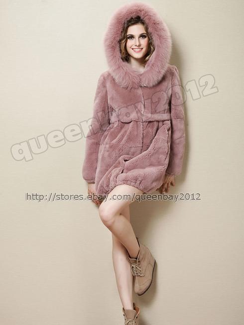 100 real rex rabbit fur coat jacket outwear hoodie