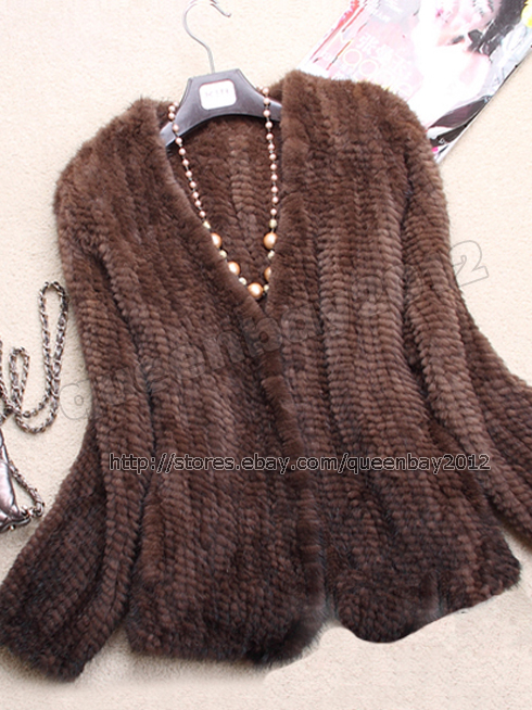 100%Real Knitted Mink Fur Jacket Knit Coat Outwear Vintage without ...