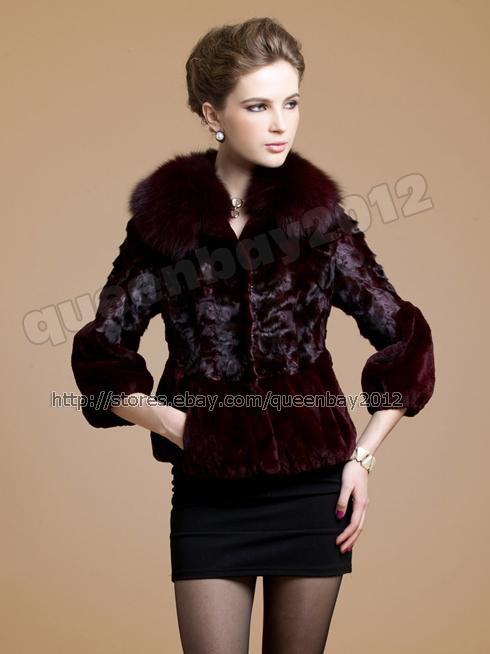 100-Real-Mink-Fur-Rex-Rabbit-Fur-Coat-Outwear-Jacket-Fox-Collar-Vintage-3Colors