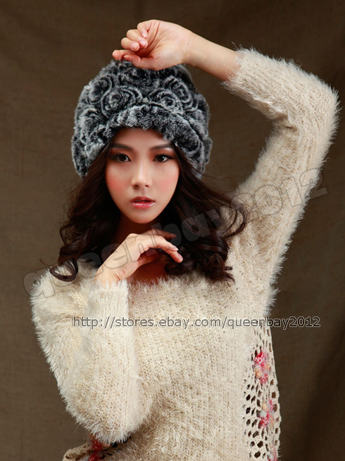 100-Real-Rex-Rabbit-Fur-Hat-Cap-Warm-Vintage-Flower-Hood-Fashion-3-Colors-Women