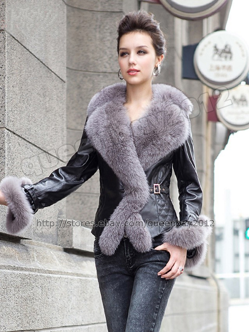 100% Real Genuine Sheep Leather Coat/Jacket with Fox collar Winter Tailor-made