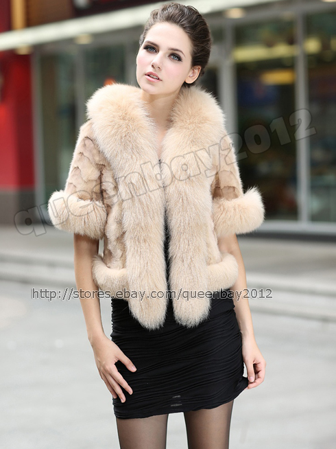 100%Real Mink Fur Coat Poncho Jacket Cardigan Fox Fur Trim Fashion