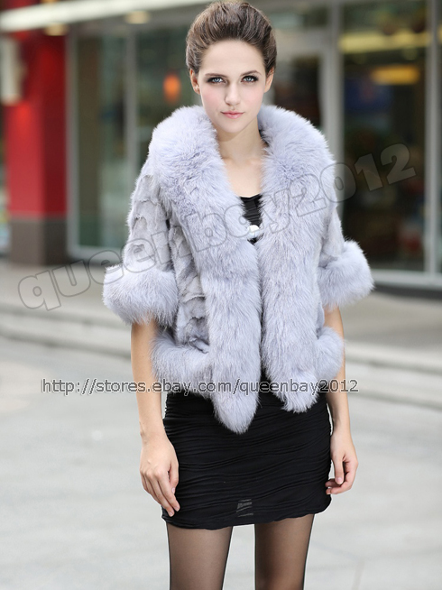 100%Real Mink Fur Coat Poncho Jacket Cardigan Fox Fur Trim Fashion ...