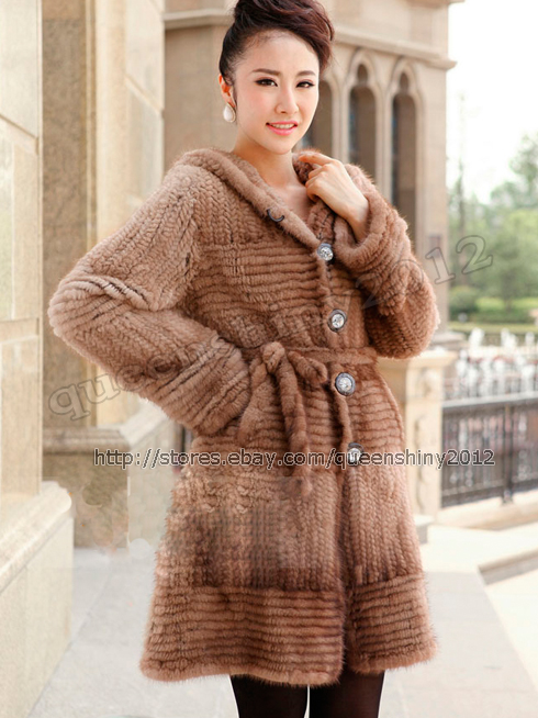 100% Real Genuine Knit Knitted Mink Fur Long Coat Jacket Clothing Hoody Winter