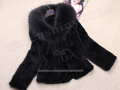 100% Real Knitted Mink Fur Big Raccoon Collar Coat Outwear Jacket Fashion Spring