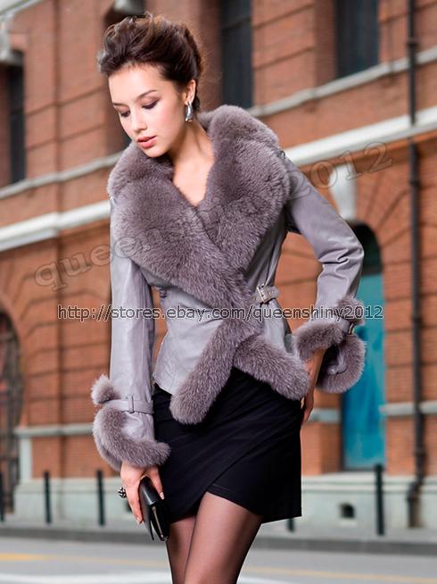 100% Real Genuine Super Fox Fur Collar Lamb Sheep Leather Coat ...