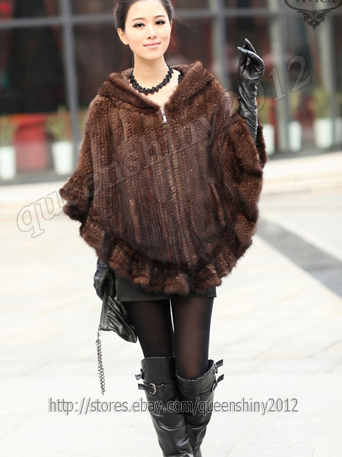 New 100% Real Knitted Mink Fur Stole Cape Poncho Scarf Coat Hoody