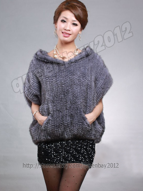 100-Real-Knitted-Knit-Mink-Fur-Coat-Jacket-Cape-Stole-Fashion-Vintage-4-Colors
