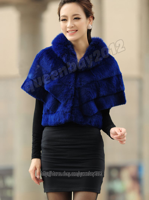 100-Real-Genuine-Rabbit-Fur-with-Fox-Collar-Coat-Outwear-Cape-Vintage-Clothing