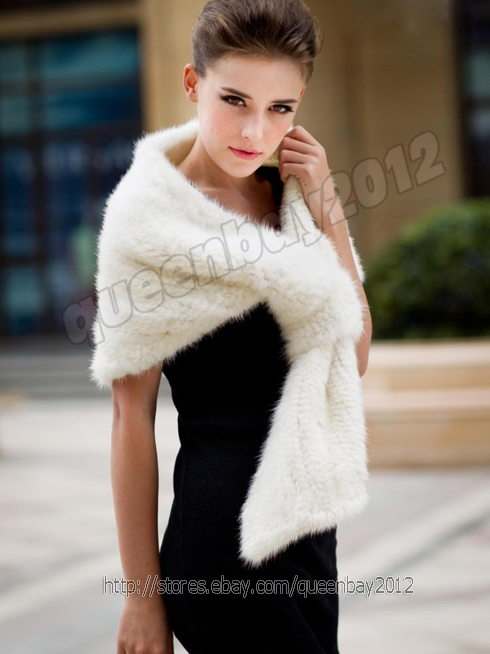 100% Real Knitted Mink Fur Scarf Cape Stole Shawl Coat Wrap