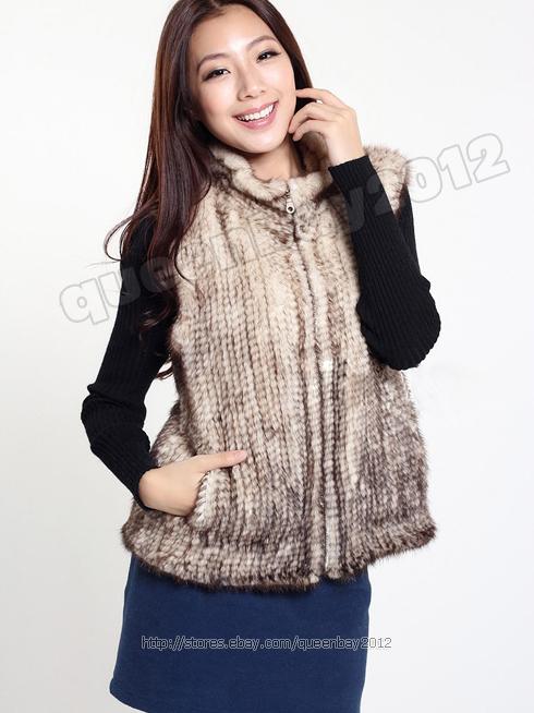 100% Real Knitted Mink Fur Vest Gilet Waistcoat Coat Fashion Womens Zip Custo...