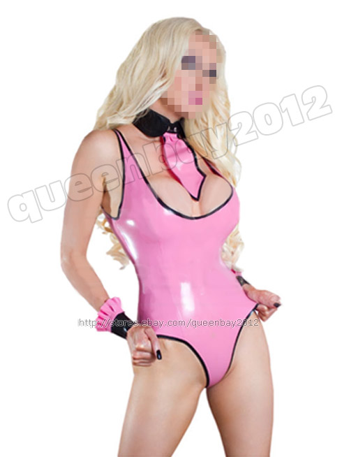 Pink latex suit