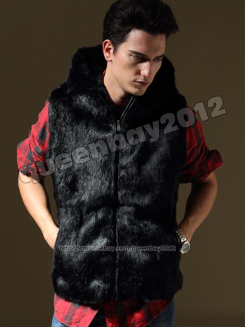 Mens 100% Real Rabbit Fur Vest Gilet Jacket Coat Waistcoat Hoodie ... c1abdc30a5a8
