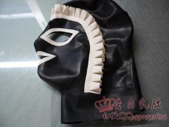 Leather fetish maid hood can believe