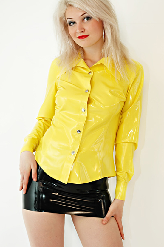 Latex Rubber Gummi Shirt Coat Top Jacket Catsuit Suit
