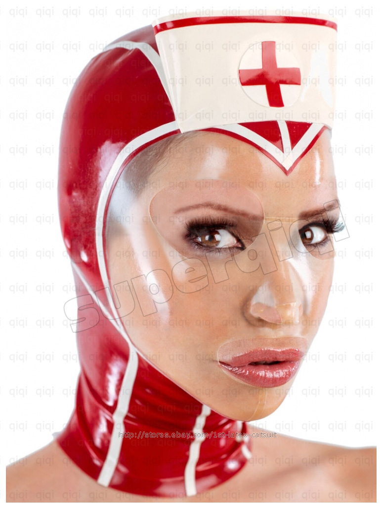 100% Latex rubber Nurse Red Cross Hood -0.45mm catsuit mask suit Clinic Nun veil | eBay